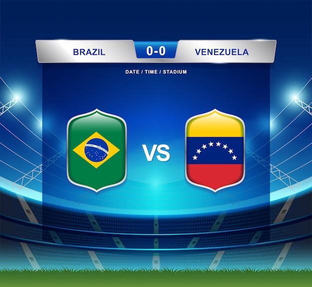 Il tabellone segnapunti del brasile contro il venezuela trasmette il football americano di copa