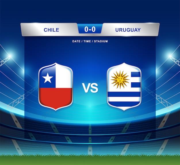 Il tabellone segnapunti del cile contro l'uruguay trasmette il football americano di copa