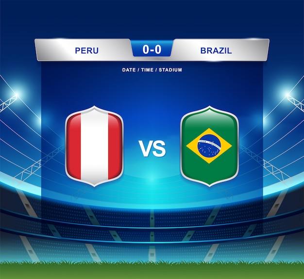 Il tabellone segnapunti del perù contro il brasile trasmette il football americano di copa