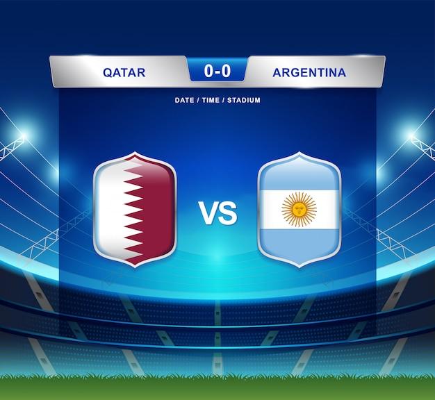 Il tabellone segnapunti del qatar contro l'argentina trasmette il football americano di copa