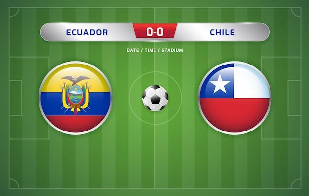 Il tabellone segnapunti dell'ecuador vs cile trasmette il torneo di calcio sudamericano 2019, gruppo c