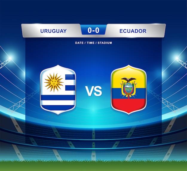 Il tabellone segnapunti dell'uruguay contro l'ecuador trasmette l'america di calcio copa