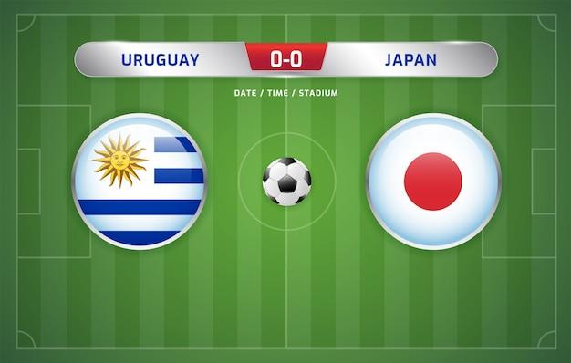 Il tabellone segnapunti dell'uruguay vs giappone trasmette il torneo di calcio sudamericano 2019, gruppo c