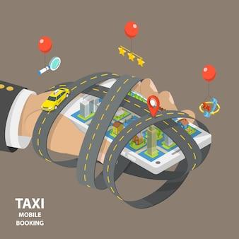 Il taxi mobile che prenota il concetto isometrico piano di vettore di poli basso.