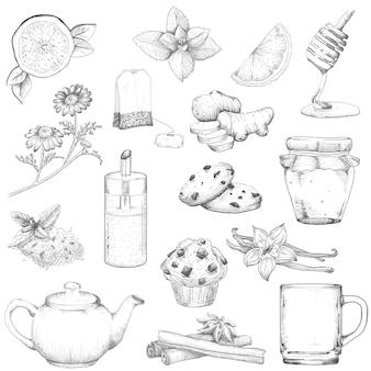 Il tè e le pasticcerie hanno messo lo stile dell'annata di schizzo dell'illustrazione. elementi su uno sfondo bianco isolato