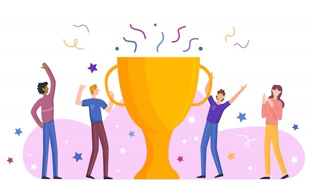 Il team aziendale celebra il successo con un grande trofeo