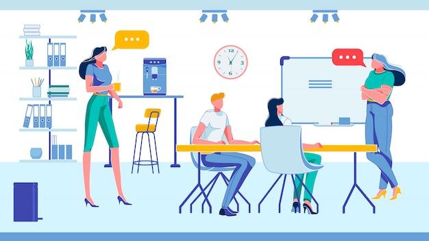 Il team aziendale o il personale dell'azienda discute dei problemi.