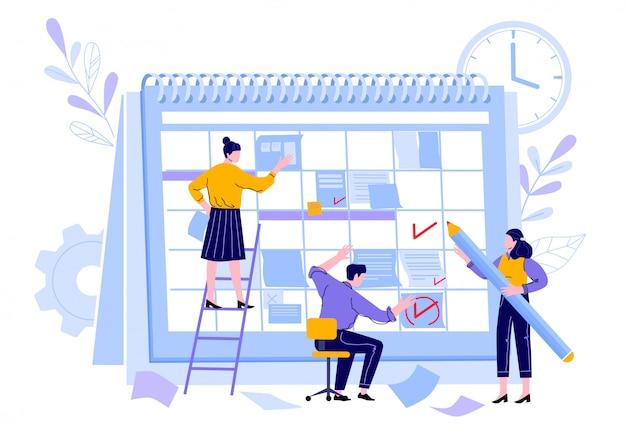 Il team dei manager organizza il calendario del progetto. lavoratori del responsabile professionale, calendari del pianificatore dell'orario di lavoro e illustrazione di piano di organizzazione di attività di lavoro di squadra. promemoria scadenza e pianificatore di attività