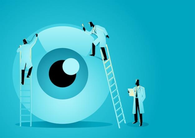 Il team di medici diagnostica l'occhio umano