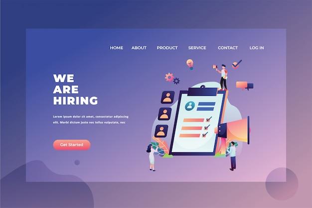 Il team hrd è alla ricerca di nuovi dipendenti stiamo assumendo l'illustrazione del modello della pagina di destinazione dell'intestazione della pagina web