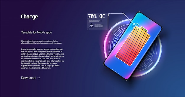 Il telefono futuristico viene caricato in modalità wireless su sfondo blu. ricarica senza fili.