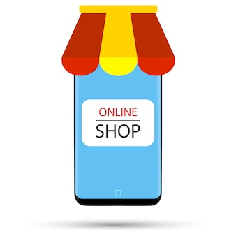Il telefono nero sotto forma di un negozio online è raffigurato su uno sfondo bianco.