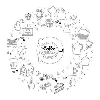 Il tempo del dolce e del caffè scarabocchia i simboli e gli oggetti imprecisi disegnati a mano dell'icona di vettore