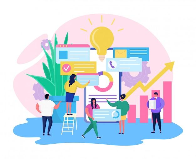 Il tempo di pianificazione aziendale, la gente minuscola del fumetto fa il programma online, concetto di strategia dell'agenda su bianco