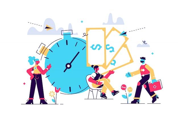 Il tempo è denaro, affari e finanza. giorno di pagamento, orologio e illustrazione dei soldi