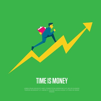 Il tempo è denaro banner con uomo d'affari