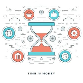 Il tempo è denaro business e design di icone di stile di linea.