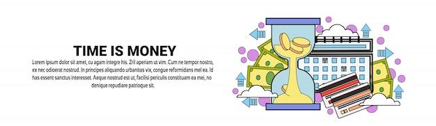 Il tempo è denaro concetto orizzontale banner modello