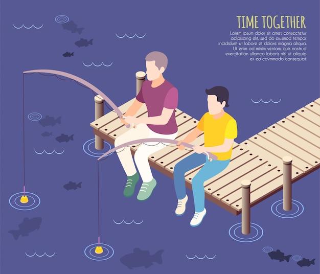 Il tempo insieme il fondo isometrico e piano con due amici sta pescando insieme l'illustrazione