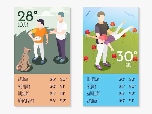 Il tempo insieme nella composizione isometrica nell'app della meteorologia impostata con gli amici passa il tempo e la temperatura sull'illustrazione dell'app