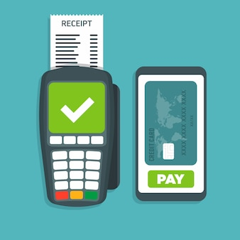 Il terminale pos conferma il pagamento tramite l'illustrazione di vettore dello smartphone.
