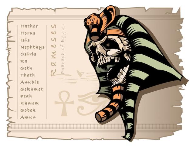 Il teschio della mummia di rameses faraone d'egitto