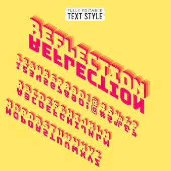 Il testo della fonte isometrica 3d segna l'alfabeto con lettere con ombra. collezione di set di specchi.