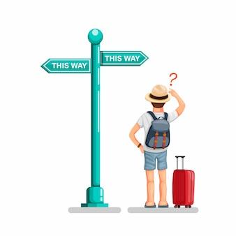 Il tipo di viaggiatore con zaino e sacco a pelo che sta il bordo anteriore del segnale stradale nella via che confonde la scelta sceglie il modo.