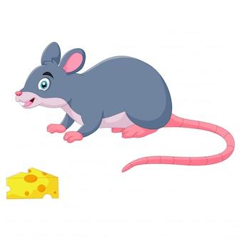 Il topo divertente del fumetto annusa il formaggio