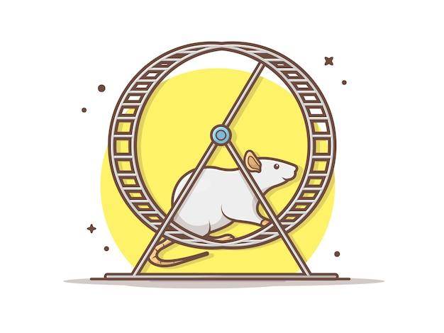 Il topo funziona nell'illustrazione dell'icona di vettore della ruota di esercizio. rotella di esercitazione e del topo, concetto animale dell'icona