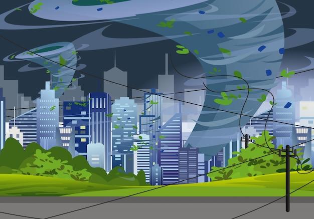 Il tornado dell'illustrazione in città moderna distrugge le costruzioni. vento enorme uragano in grattacieli, concetto di tempesta twister sputa acqua in stile piano.