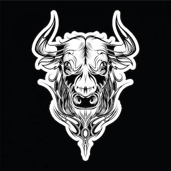 Il toro ha dipinto l'ornamento etnico tribale