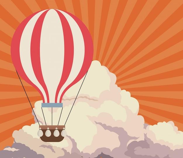 Il tramonto del cielo si appanna il fondo di viaggio di airballoon retro