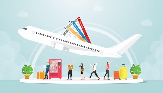 Il trasporto dell'aeroporto con la gente e l'aereo volano con la valigia dei bagagli e del biglietto con stile piano moderno - vettore