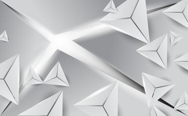 Il triangolo bianco astratto 3d modella il fondo minimo.