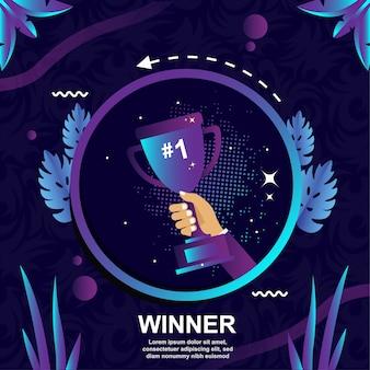 Il trofeo vincente è in realtà un vettore di design piatto