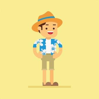 Il turista maschio felice in una camicia hawaiana va viaggiare in vacanza estiva