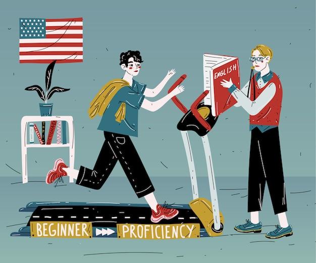 Il tutor di inglese insegna uno studente individualmente. lezione di lingua straniera.
