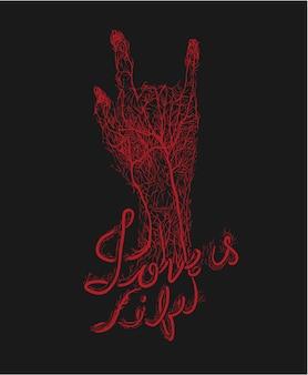 Il vaso sanguigno della mano che firma l'amore