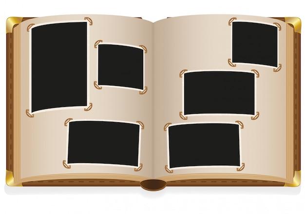 Il vecchio album di foto aperto con le foto in bianco vector l'illustrazione