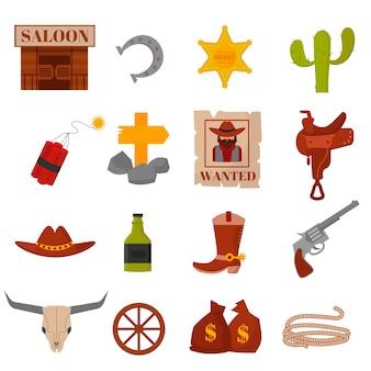 Il vecchio americano occidentale d'annata progetta le icone di vettore del cowboy del segno e della grafica.