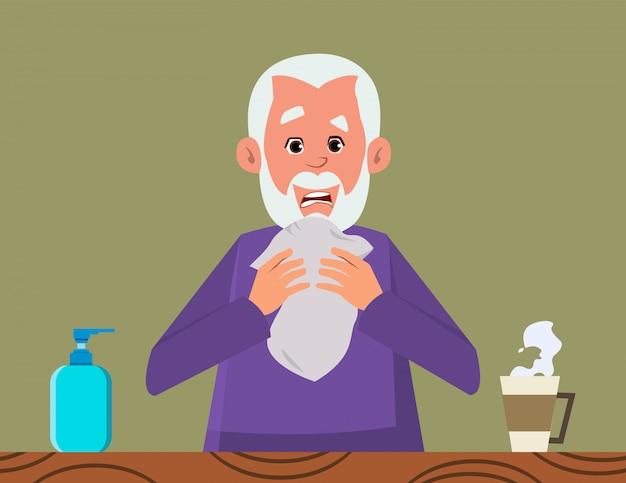 Il vecchio tossisce. concetto di sintomo di coronavirus