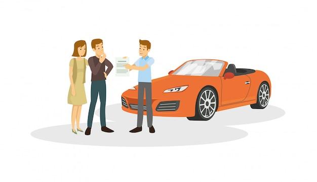 Il venditore è offerto al cliente circa l'auto sono la vendita