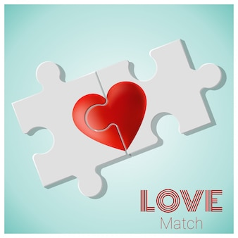 Il vero concetto di amore con pezzi di puzzle cuore rosso si uniscono