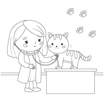 Il veterinario con uno stetoscopio ascolta un gatto. pagina da colorare per bambini.