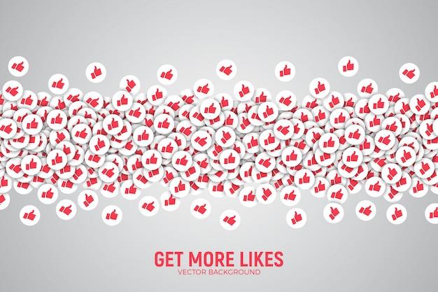 Il vettore 3d facebook gradisce il pollice sull'illustrazione concettuale delle icone