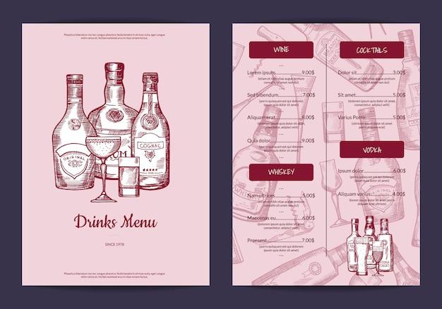 Il vettore beve il modello del menu per la barra, il caffè o il ristorante con l'illustrazione disegnata a mano delle bottiglie e di vetro delle bevande dell'alcool