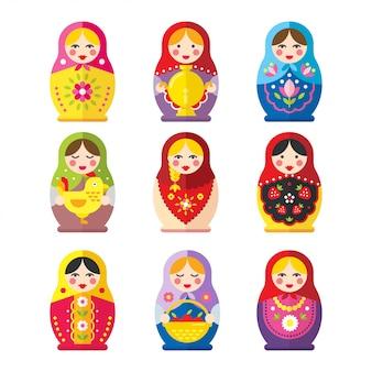 Il vettore delle bambole di matryoshka o babushka ha impostato in uno stile piano