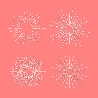 Il vettore dello sprazzo di sole ha impostato sul colore rosa