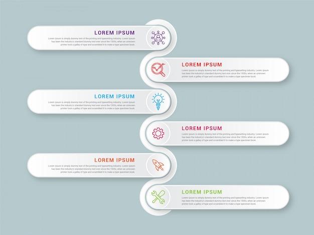 Il vettore di progettazione infografica aziendale e le icone di marketing possono essere utilizzate per il layout del flusso di lavoro, il diagramma, la relazione annuale, il web design. concetto di affari con sei opzioni, passaggi o processi.